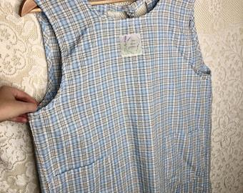 Vintage Women's Seersucker Plaid Apron Dress