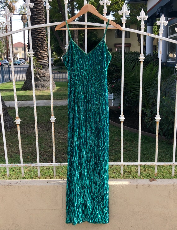 Vintage Teal Sequin Slip Maxi Dress