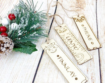 Bookmarks made of wood, personalized with name engraving and design selection, beautiful gift for the advent calendar