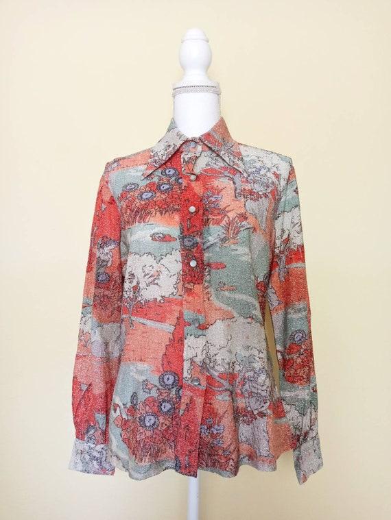 60s shirt //Alice Stewart // vintage // metallic s