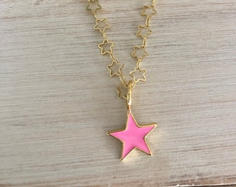 Star silver necklace Gemstone Pendant Sterling Silver Star North star necklace Pink Rhodochrosite Star Silver Pendant by Jewellify
