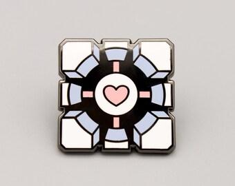Portal Companion Cube enamel pin