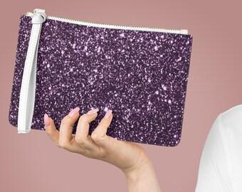Deep Purple Glitter Clutch Bag | Women's Bag with wrist strap | Deep Purple glitter evening bag