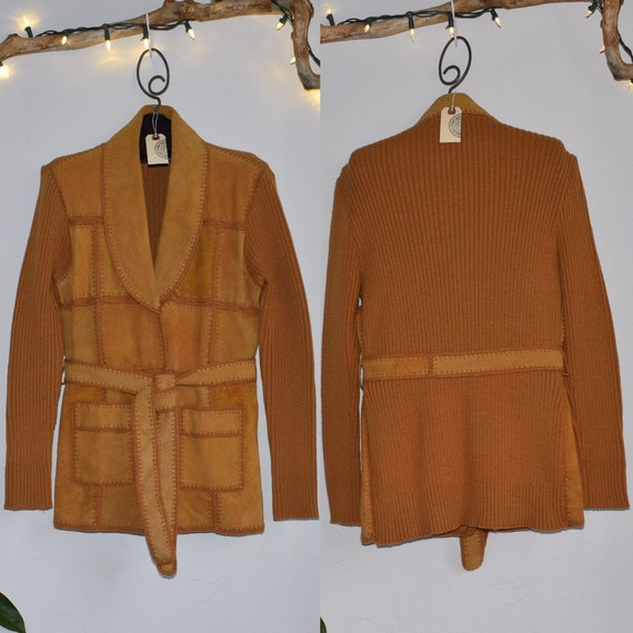 70's Light Brown Patchwork Suede Leather Shawl Col