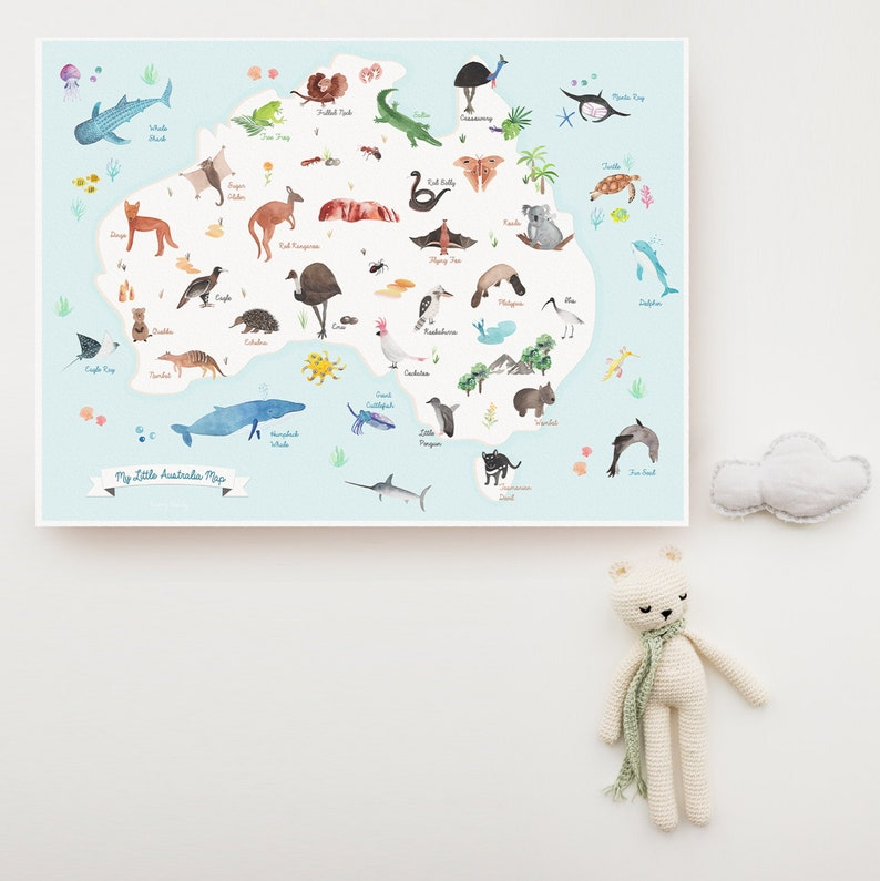 AUSTRALIA ANIMAL MAP  Ocean Nursery art Animal poster image 0