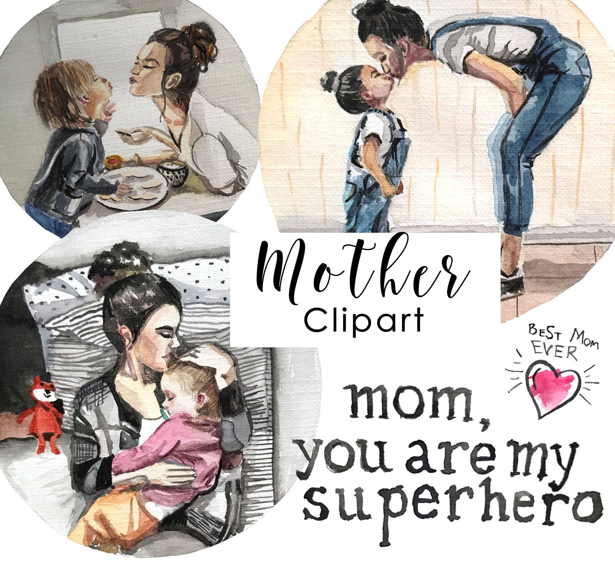 Семья clipart День матери Clipart мать дочь clipart дети | Etsy