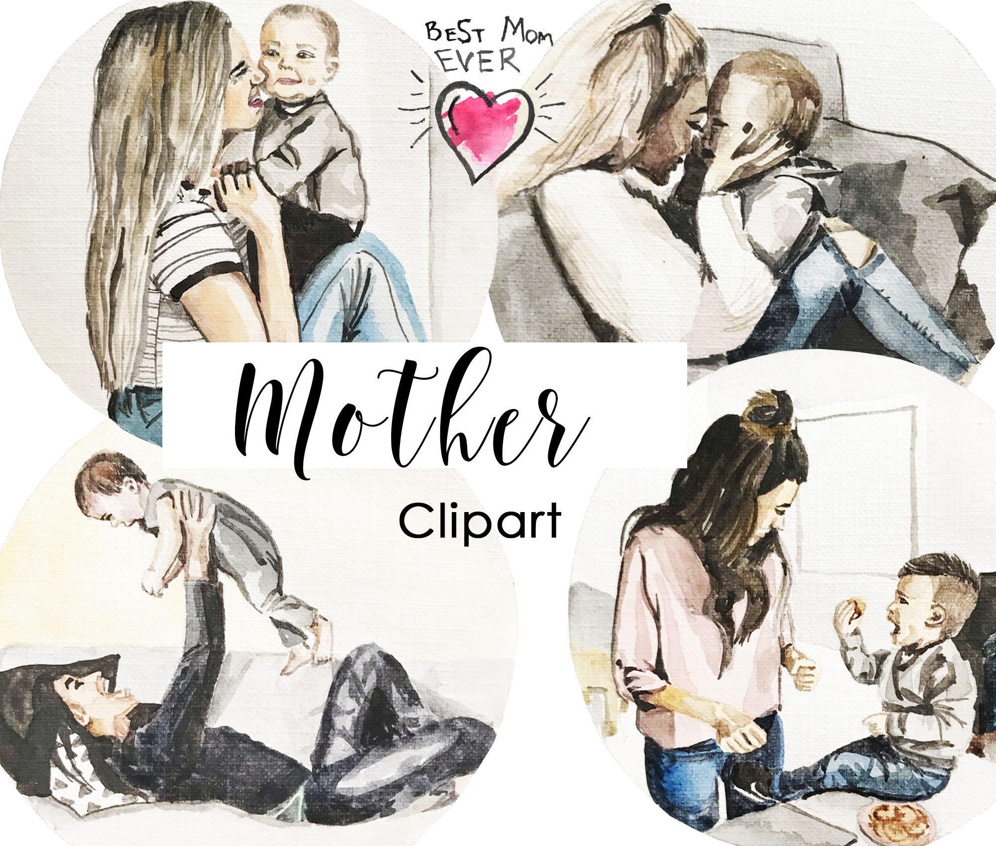 Семья clipart мать дочь clipart дети День матери Clipart я | Etsy