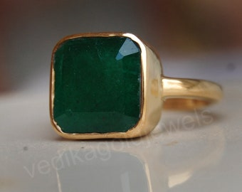 Pear Faceted Green Onyx Gemstone 925 Sterling Silver ring Natural Green Onyx Micron Yellow Gold Rose Gold Fill Ring Birthstone Ring