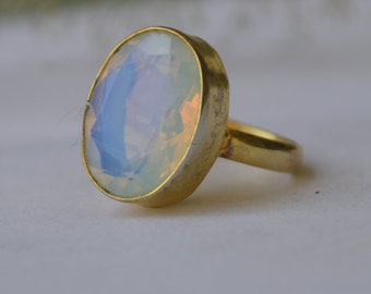 rose gold filled birthstone jewelry  green opaline ring rare green opalite opal gemstone 925 sterling silver ring  yellow gold