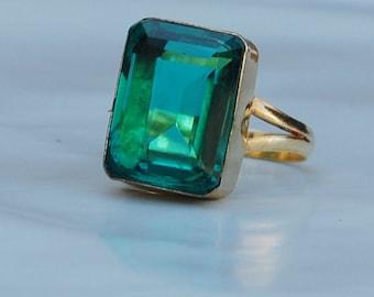 Cushion Cut Russian Dioptase Quartz Gemstone 925 Sterling Silver ring, Cushion Green Quartz Gold Rose Gold Fill Ring, Birthstone Ring