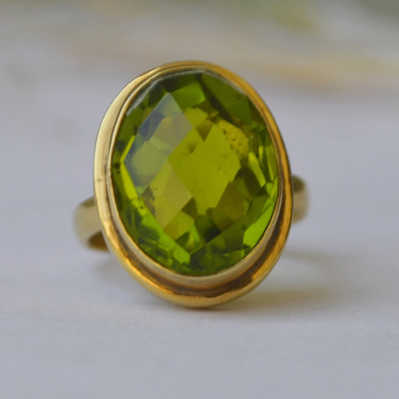Green Peridot Micron Yellow Gold Rose Gold Filled Ring Jewelry Oval Rose Cut Peridot Quartz 925 Sterling Silver ring Birthstone Ring