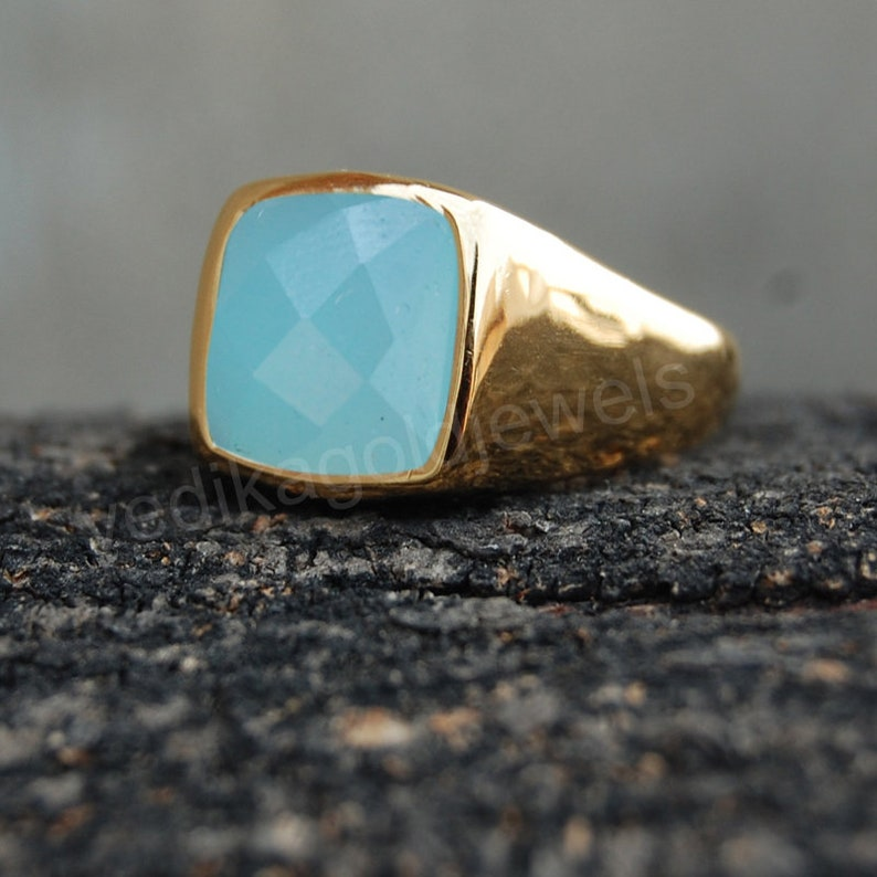 Birthstone Ring Aqua Chalcedony Micron Yellow Gold Rose Gold Filled Ring Natural Rose cut Aqua Chalcedony 925 Sterling Silver ring