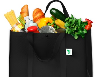 Reusable Grocery Bags (5 Pack, Black) - Hold 50+ lbs - Extra Large & Super Strong, Heavy Duty Shopping Bags