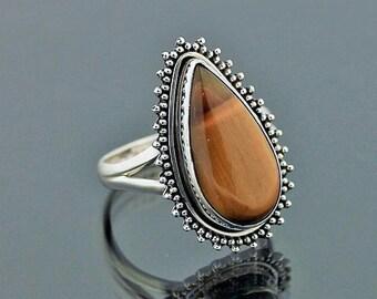 Sterling Silver 8 x 6mm Oval Size 7-12 Natural Tiger Eye Ring Boho Bali Vintage Filigree Design 07-1306