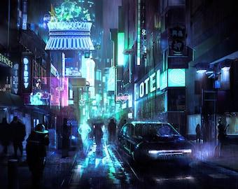 Cyberpunk Street Night Poster