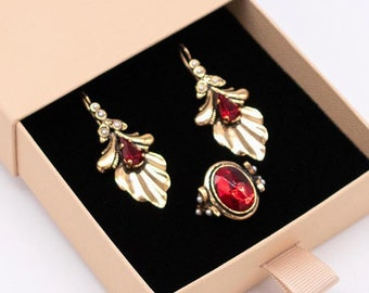 Ruby Red Gold Earrings /& Ring Set Ortica Handmade Vintage Jewelry Made in Italy Art Nouveau Victorian Art Deco Leafed Matching Gift
