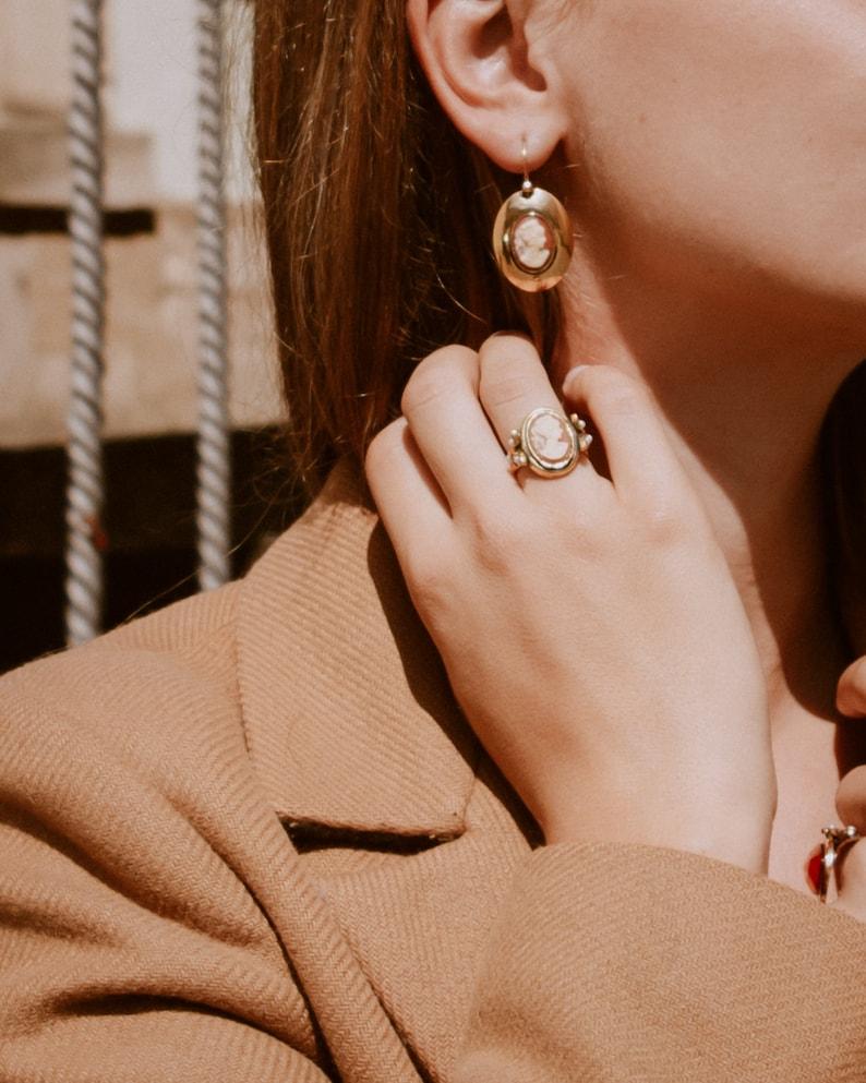 Handmade Ring Vintage Ring Art Nouveau Jewellery Victorian Jewellery Art Deco Ring Baroque Jewellery Cameo Ring Topaz Ring Cameo Gold Ring