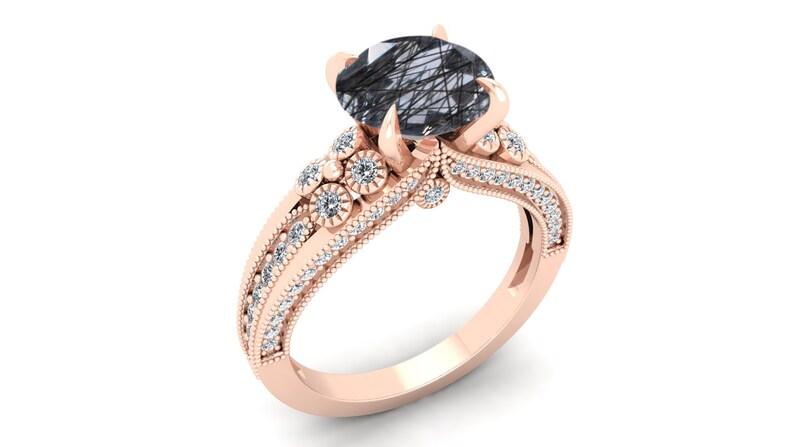 Vintage Art Deco Ring Black Stone Ring Moissanite Ring Black Rutile Wedding Bridal Ring Split Shank Ring Solitaire Ring. 2.25ct