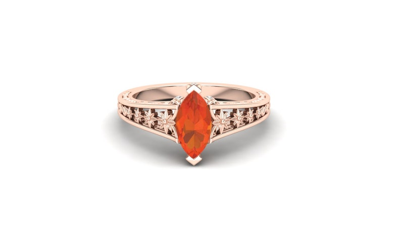 Floral Ring. Orange Stone Ring Vintage Art Deco Ring Moissanite Ring Fire Opal Wedding Engagement Bridal Ring Solitaire Ring 1.00 ct