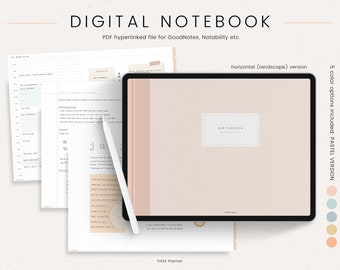 GoodNotes Digital Notebook - 12 Hyperlinked Tabs - Digital Notes Template for Notetaking & Digital Note Book for Students for Notability