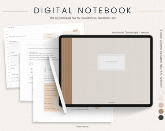 Digital Notebook for Goodnotes and Notability - 12 Hyperlinked Tabs - Digital Notes Template for Notetaking & Digital Note Book for Students