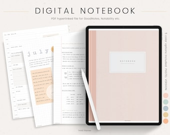 Digital Notebook for GoodNotes Notability Hyperlinked Tabs - Digital Notes Template for iPad Notetaking & Digital Note Book for Students