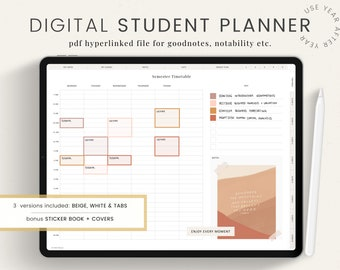 Digital STUDENT Planner, School GoodNotes Planner, Student Planner, iPad Planner, Digital Planner for College, Digital Academic Agenda
