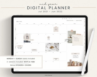 Mid Year Digital Planner - Dated Digital Planner, 2021 to 2022 Planner, GoodNotes Planner, Notability Planner, Daily Planner, iPad Planner