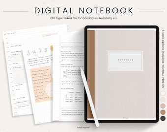 Digital Notebook 12 Hyperlinked Tabs for Goodnotes Notability - Digital Notes Template for Notetaking & Digital Note Book for Students