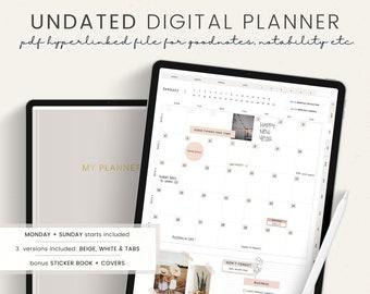 UNDATED Digital Planner - Portrait Planner with hyperlinks - GoodNotes Planner Notability iPad Planner - Daily Planner Agenda this planner