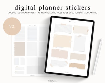 Digital Planner Stickers Set - Neutral Minimal Paper Torn Digital Sticky Note - for GoodNotes and Notability Planner - precropped stickers