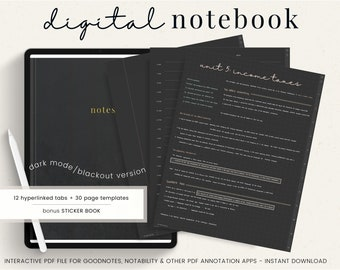 Dark Mode Digital Notebook - 12 Hyperlinked tabs for GoodNotes Notability PDF Template - Blackout Digital Notes Note taking Students