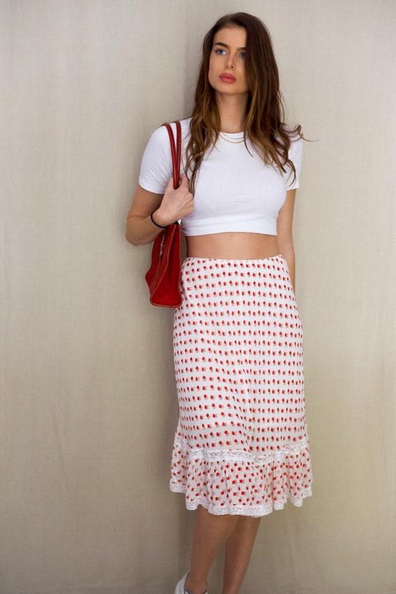 Women's Floral Summer Midi Skirt, Long Patterned S