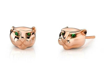 Round Cut Green Emerald Animal Panther Stud Earrings in 14K Rose Gold Finish