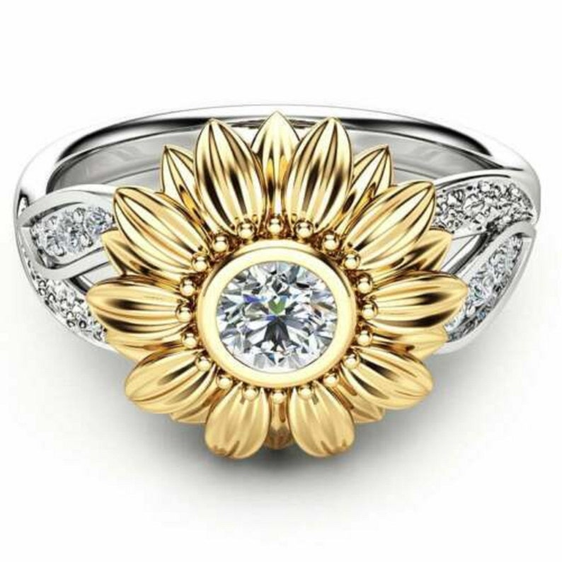 1.5Ct Round cut Simulated Diamond 14K Yellow Gold Over Unique Sunflower Engagement Ring Solid Silver