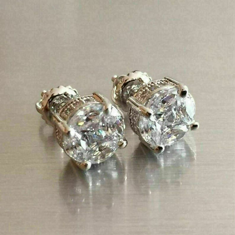 2.00 Ct Princess Cut VVS1 Simulated Diamond Antique Vintage Stud Earrings Silver 14K White Gold Over