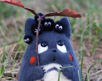 Needle felted Totoro plush toy, custom anime, Kawaii Toys, Handmade Collectible Artist Doll, 7 Inches - MADE TO ORDER