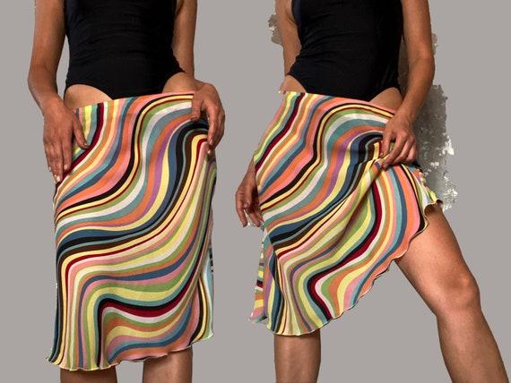 vintage skirt / slip skirt / rainbow skirt / 90s s
