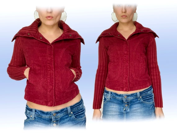 vintage y2k jacket / y2k sweater / red jacket / co