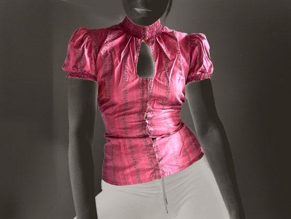 vintage blouse / corset top / cotton blouse / vict