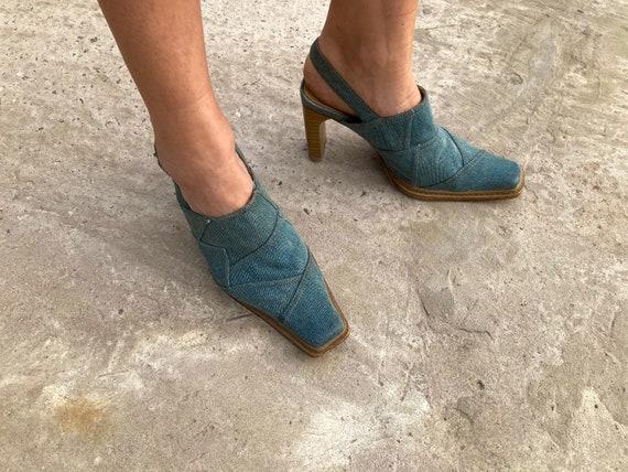 vintage mules / jeans mules / 00s mules / 90s mul… - image 5