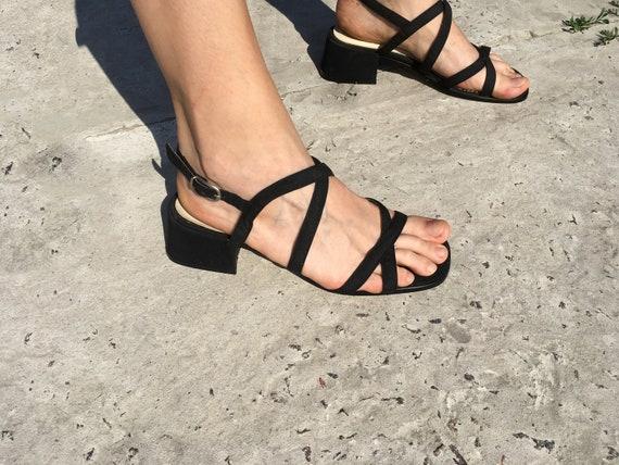 vintage sandals / square toe sandals / 90s sandals