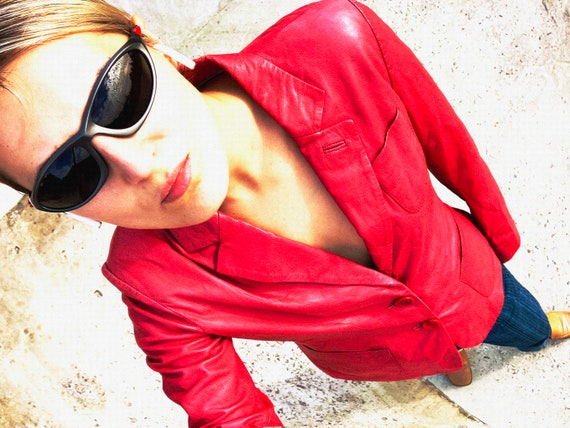 vintage leather jacket / red leather jacket / genu