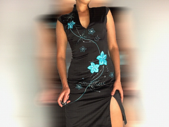 vintage dress / y2k dress / chinese dress / embroi