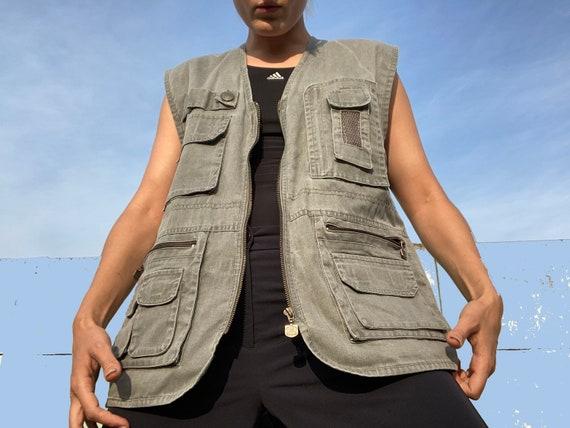 vintage vest / 90s vest / multipocket vest / many