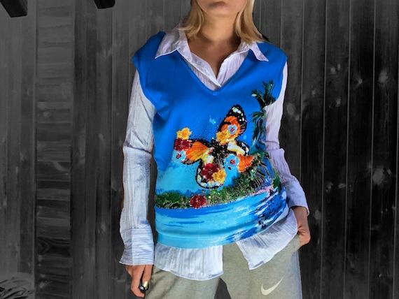 vintage vest / y2k vest / sweater vest / butterfl… - image 4