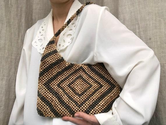 vintage bag / wooden bag / beaded bag / Benetton b