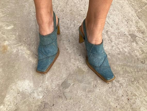 vintage mules / jeans mules / 00s mules / 90s mul… - image 4
