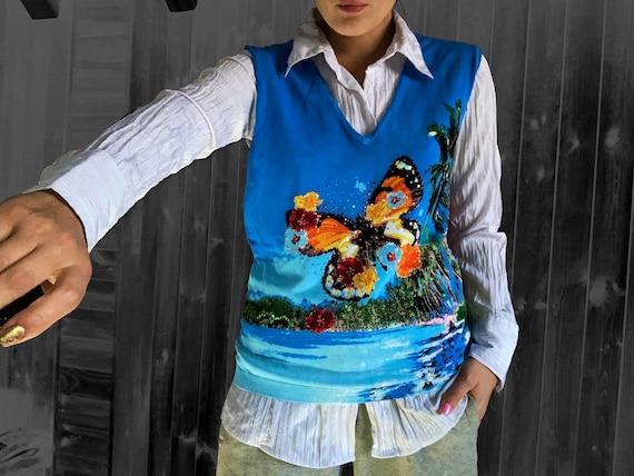 vintage vest / y2k vest / sweater vest / butterfl… - image 1