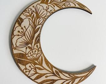Floral engraved moon, wooden bohemian wall decor, boho floral moon